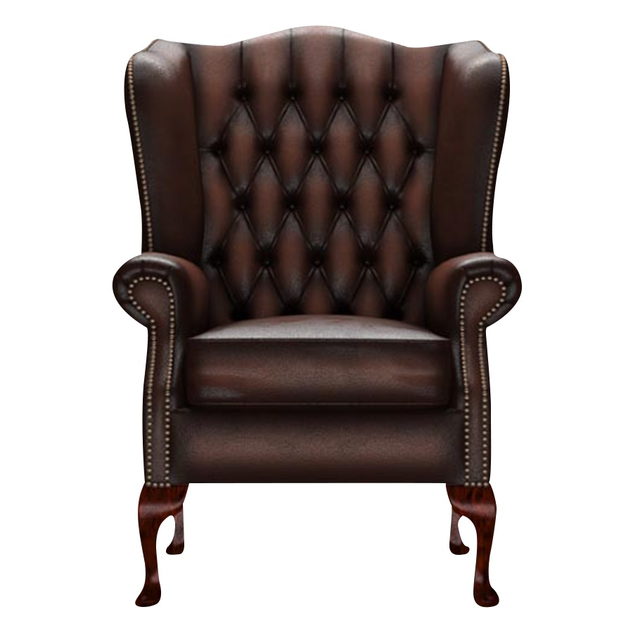 WINGCHAIR GLADSTONE ANTIQUE BROWN i gruppen Chesterfield / Chesterfield fåtöljer hos HolyHome (1-ABROWN-GLAD)