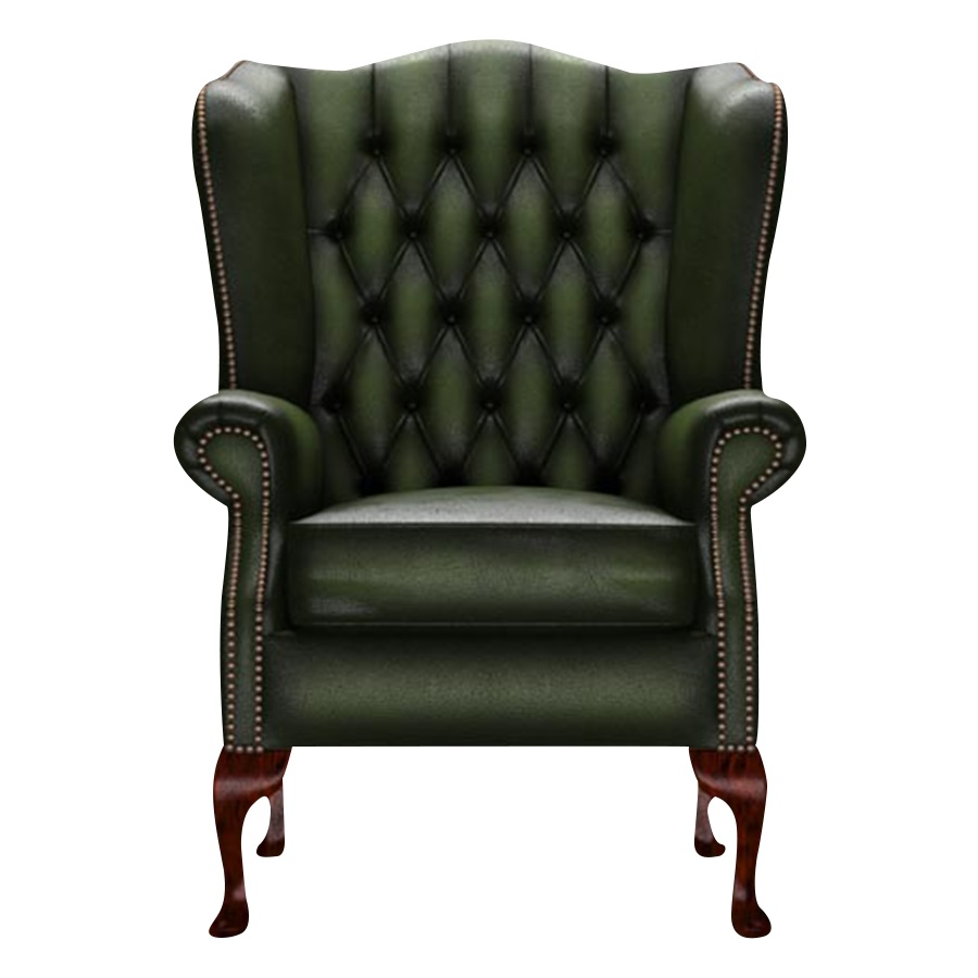 WINGCHAIR GLADSTONE ANTIQUE GREEN i gruppen Chesterfield / Chesterfield fåtöljer hos HolyHome (1-AGREEN-GLAD)