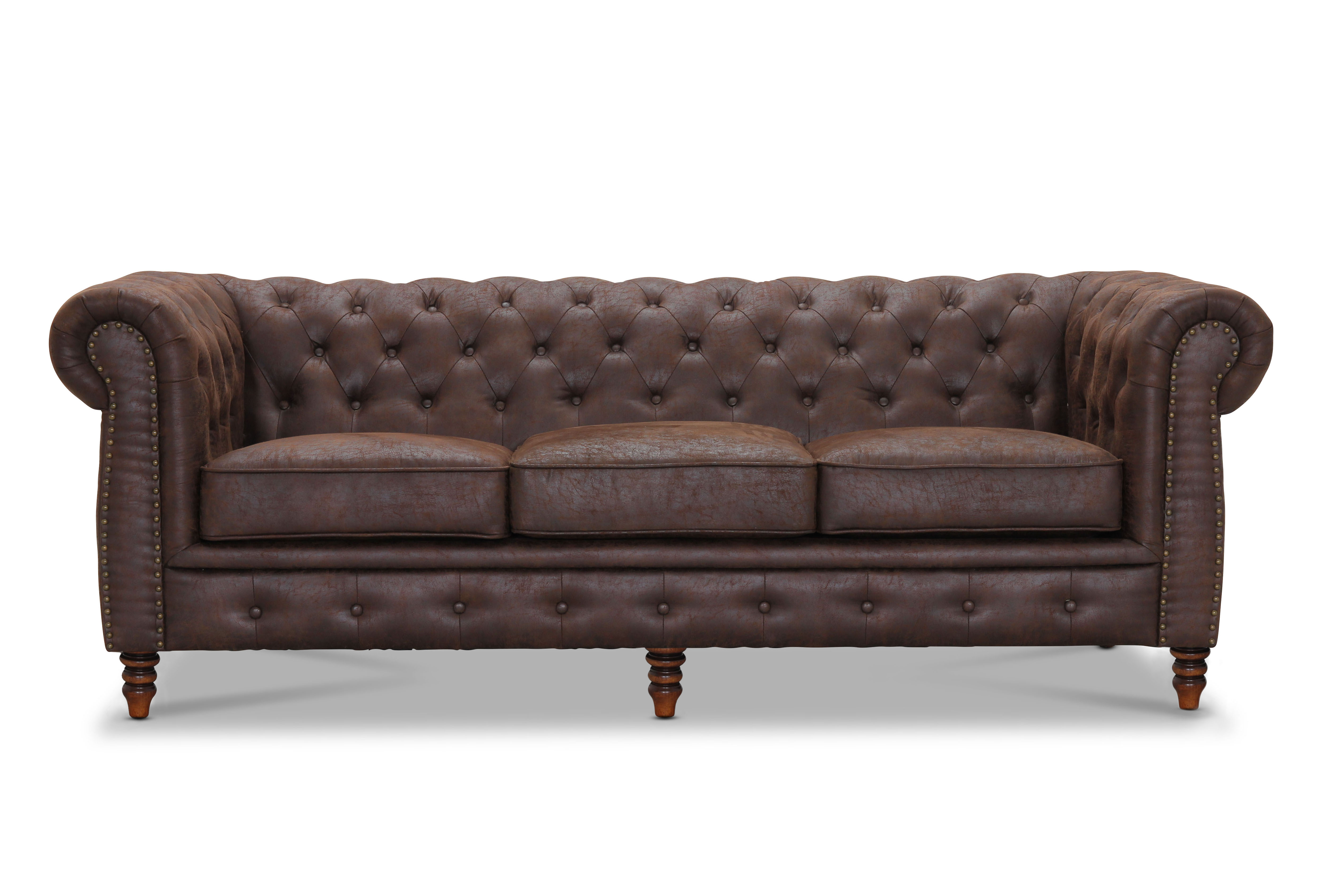 Cambridge brun 3-sits i gruppen Chesterfield / Chesterfield tygsoffor hos HolyHome (HA215341560)