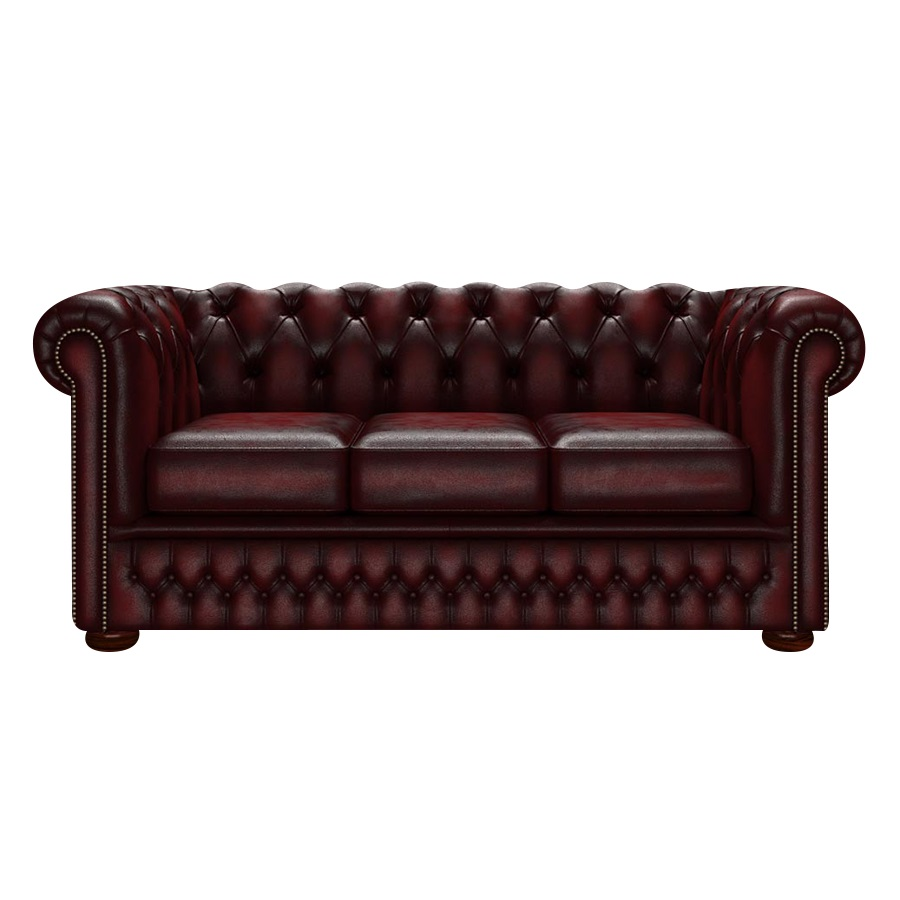 FLEMING CHESTERFIELD 3-SITS ANTIQUE RED