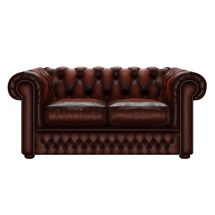 SHACKLETON CHESTERFIELD 2-SITS ANTIQUE CHESTNUT